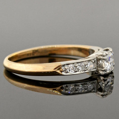 Art Deco Platinum/14kt Diamond Engagement Ring 0.25ctw