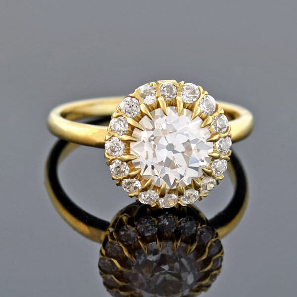 Victorian 18kt Gold Diamond Cluster Ring 1.59ct