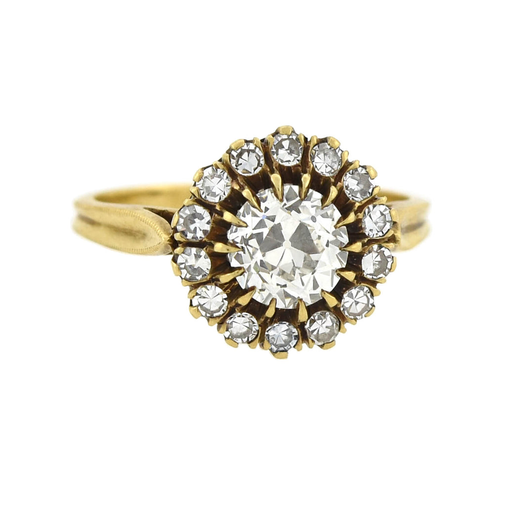 Victorian 18kt Diamond Cluster Ring 1.40ctw
