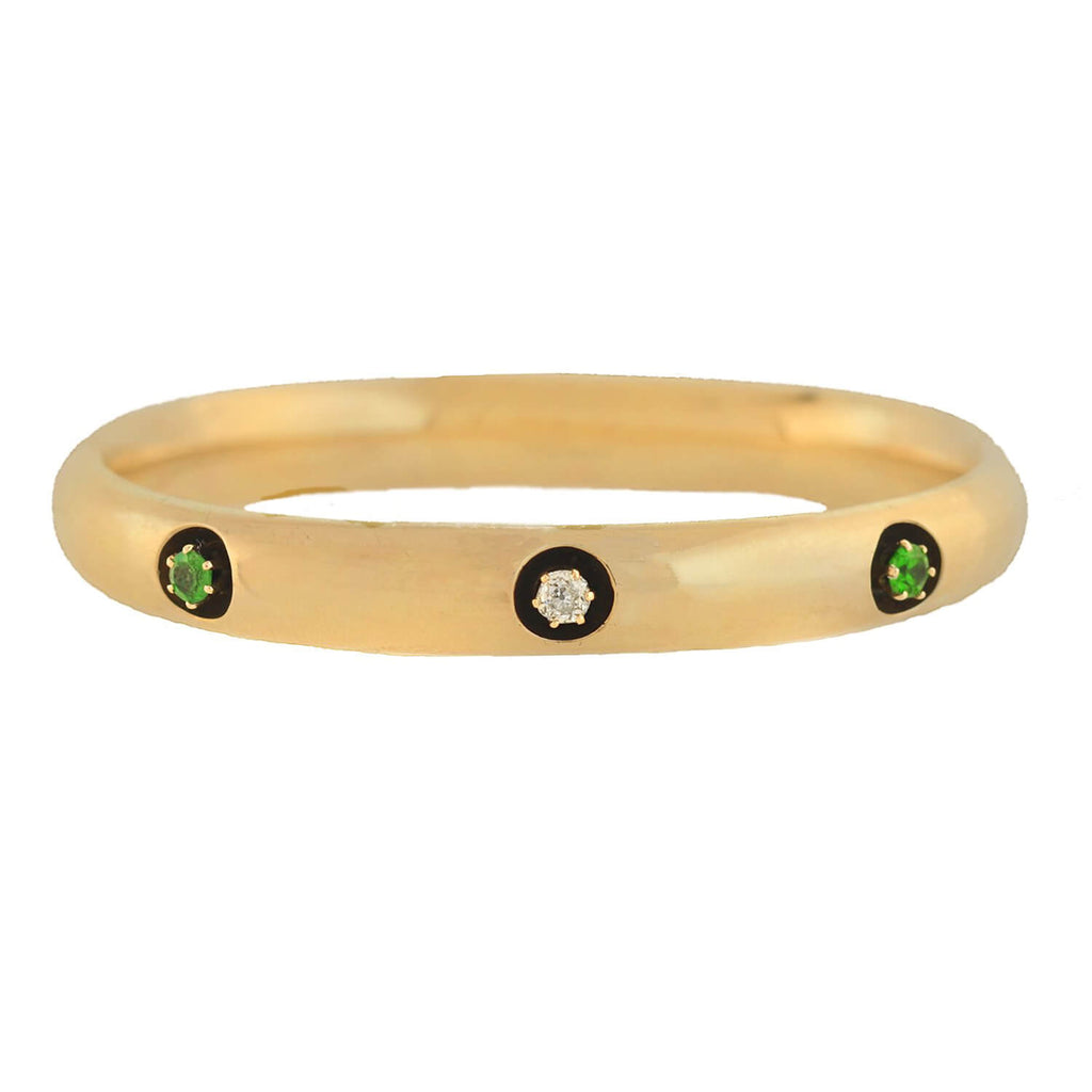 Victorian 14kt Diamond + Demantoid Garnet Bangle Bracelet