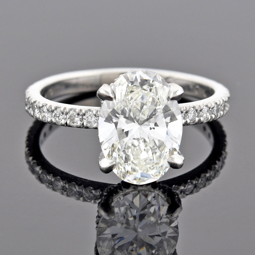 Estate Platinum Oval Brilliant Cut Diamond Engagement Ring 3.01ct center