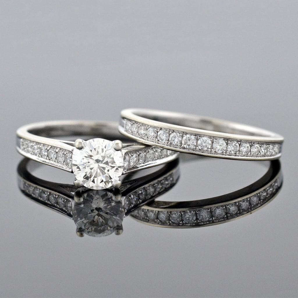 Estate 18kt Diamond Engagement Ring + Band Set 1.02ct center