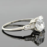 Estate Platinum Cushion Brilliant Diamond Engagement Ring 1.71ct