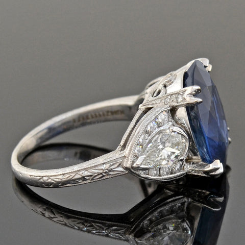 Estate Platinum Natural Sapphire + Diamond Ring 7.53ct center