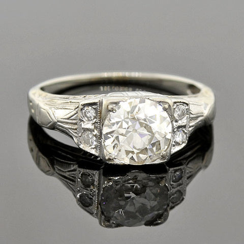 Art Deco 18kt Mine Cut Diamond Engagement Ring 1.14ct