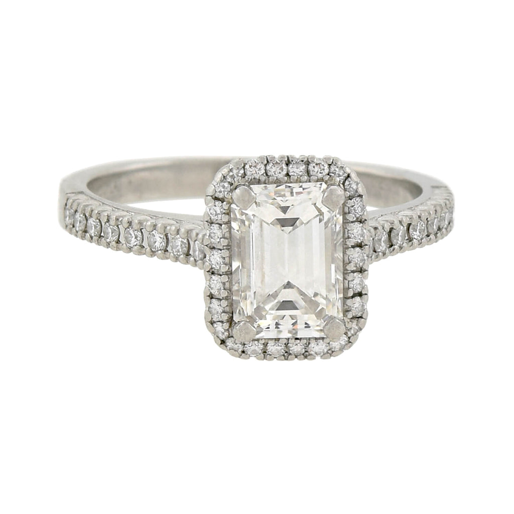 Estate Platinum Emerald Cut Diamond Halo Engagement Ring 1.51ct center