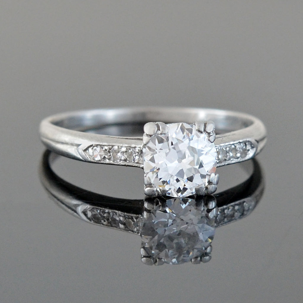 Late Art Deco Platinum Diamond Engagement Ring 0.85ct center