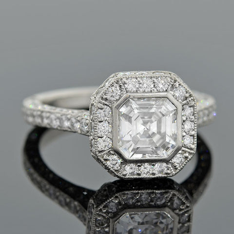 Estate Platinum & Asscher Cut Diamond Engage Ring 0.92ct