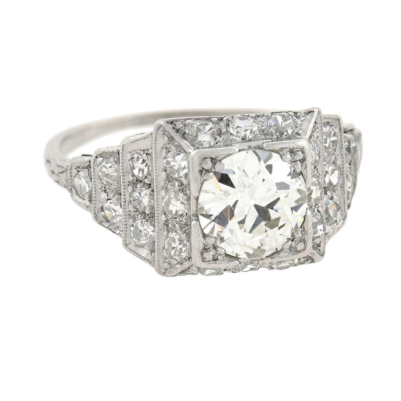 Victorian Style 18kt Old Mine Cut Diamond Cluster Ring 1.34ct center