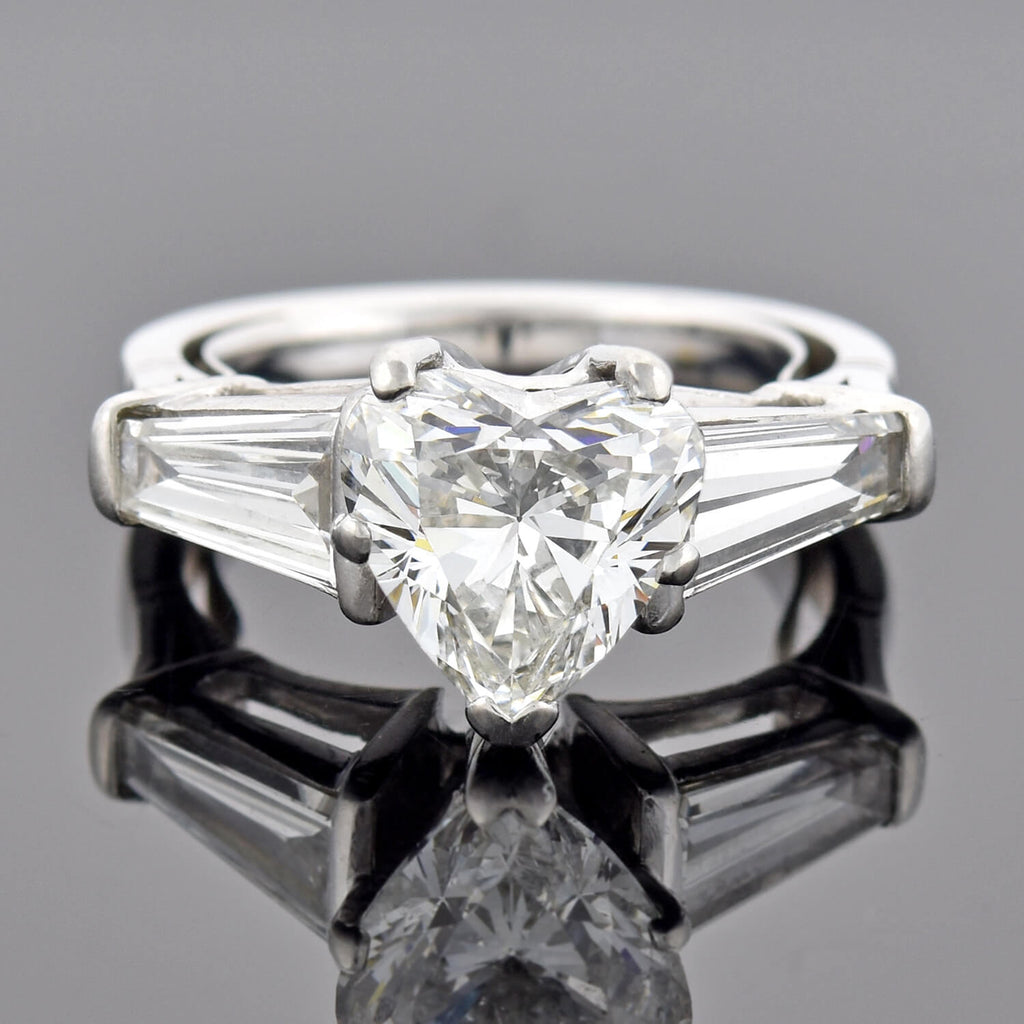 Estate Platinum 2.70ct Heart Brilliant Cut Diamond Engagement Ring