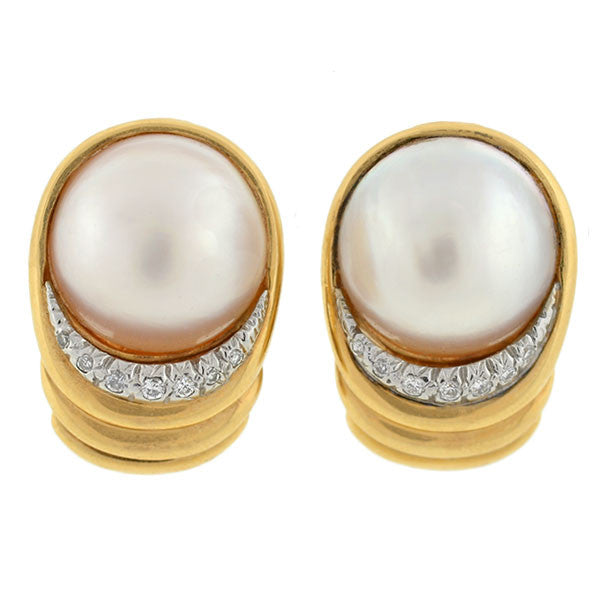 Estate Large 14kt Mabe Pearl & Diamond Earrings