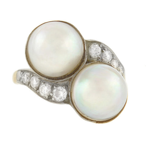 Retro 14kt Gold & Platinum Diamond & Mabe Pearl Ring