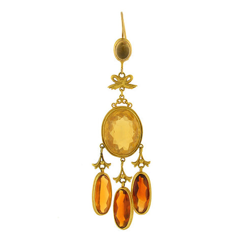 Victorian 14kt & Madeira Citrine Long Hanging Earrings
