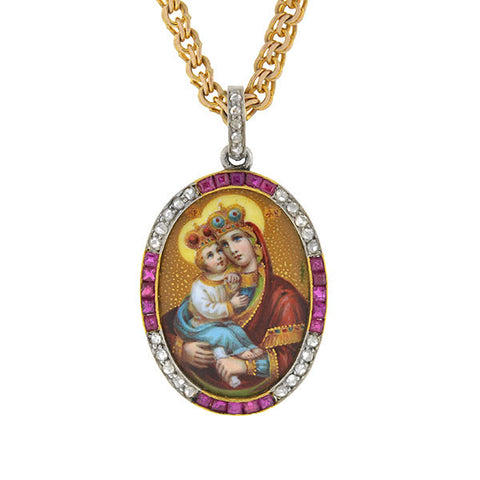 Art Deco 14kt Ruby & Diamond Madonna and Child Necklace