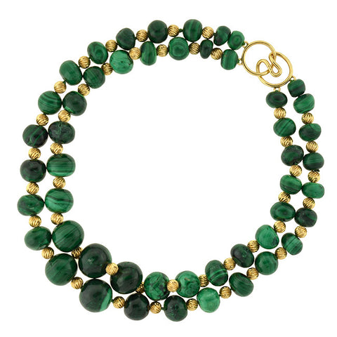 Estate 14kt Gold & Malachite Bead 2-Strand Necklace