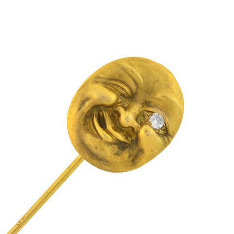 Art Nouveau 14kt Diamond Winking Man in the Moon Stick Pin