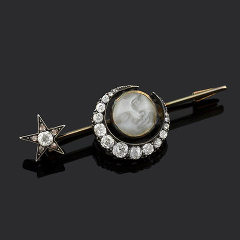 "Victorian ""Man In The Moon"" Diamond Crescent & Star Pin"