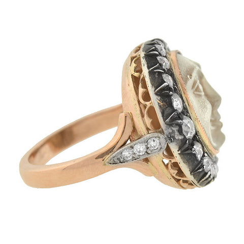 "Victorian 18kt ""Man In The Moon"" Diamond Crescent Ring"