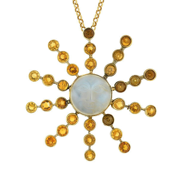 Art Nouveau 14kt Carved Moonstone & Zircon Sunburst Necklace