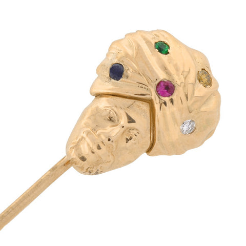 Late Victorian 14kt Gemstone Fortune Teller Stick Pin
