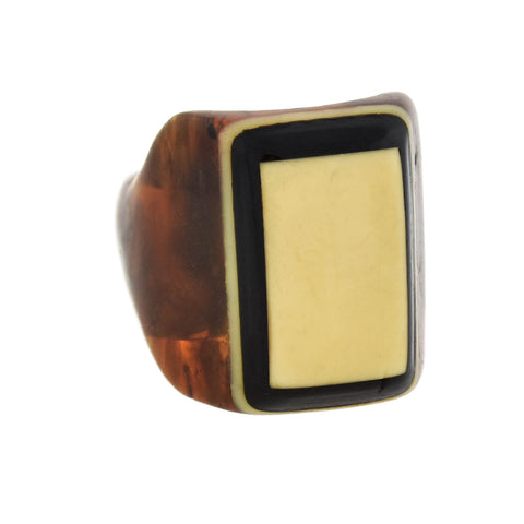 Art Deco Large Marbled Brown, Black + Ivory Layered Celluloid Ring