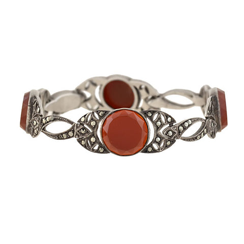 Art Deco German Sterling Carnelian + Marcasite Filigree Link Bracelet