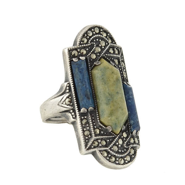 Art Deco Sterling Silver Sodalite, Jadeite & Marcasite Ring