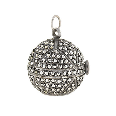 Art Deco Sterling Silver Marcasite Watch Fob