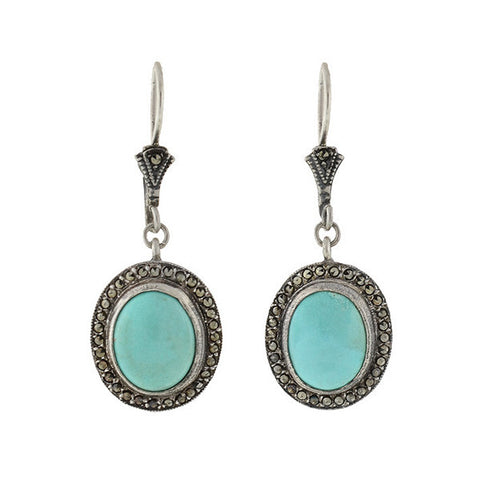 Art Deco Sterling Turquoise & Marcasite Earrings