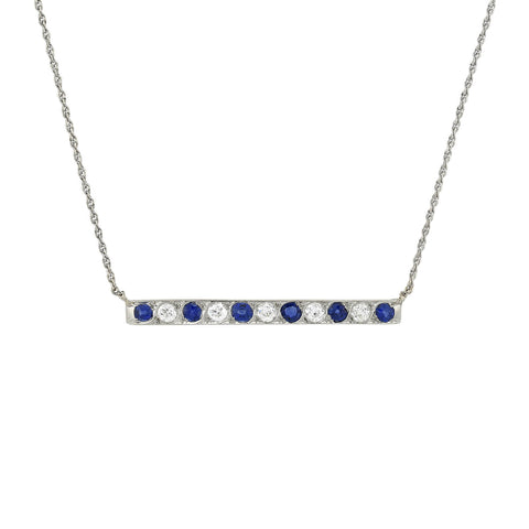 MARCUS & CO Edwardian Sapphire + Diamond Conversion Bar Pendant Necklace