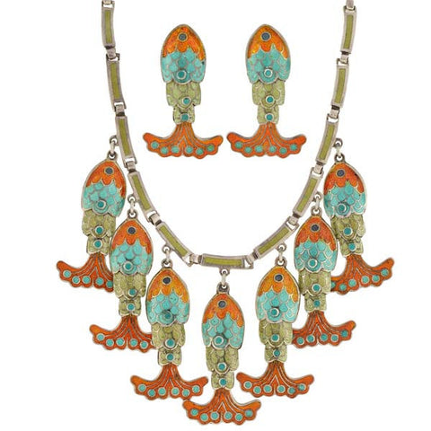 MARGOT Vintage Sterling & Enamel Fish Necklace Earring Set