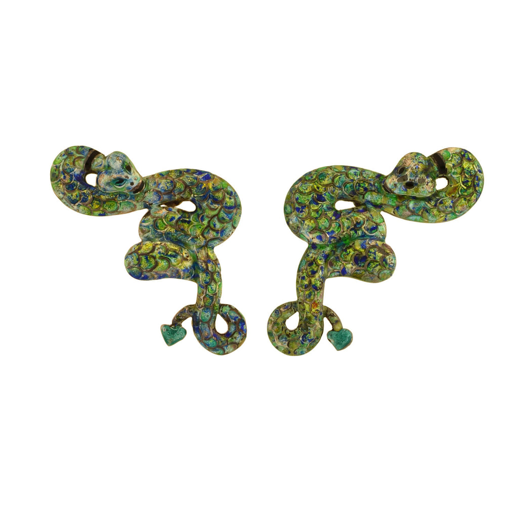 "Vintage Mexican Sterling + Enamel ""Margot Style"" Snake Earrings"