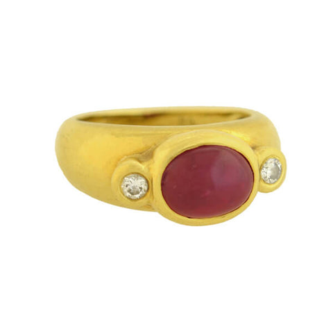 MARLENE STOWE Estate 18kt Ruby + Diamond 3-Stone Ring