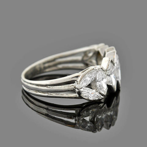 Retro Platinum Marquise Cut Diamond Half Band 1.50ctw