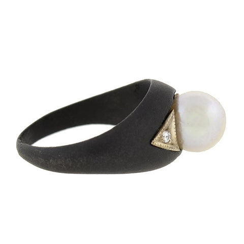 MARSH & CO. 18kt Blackened Steel Pearl & Diamond Ring