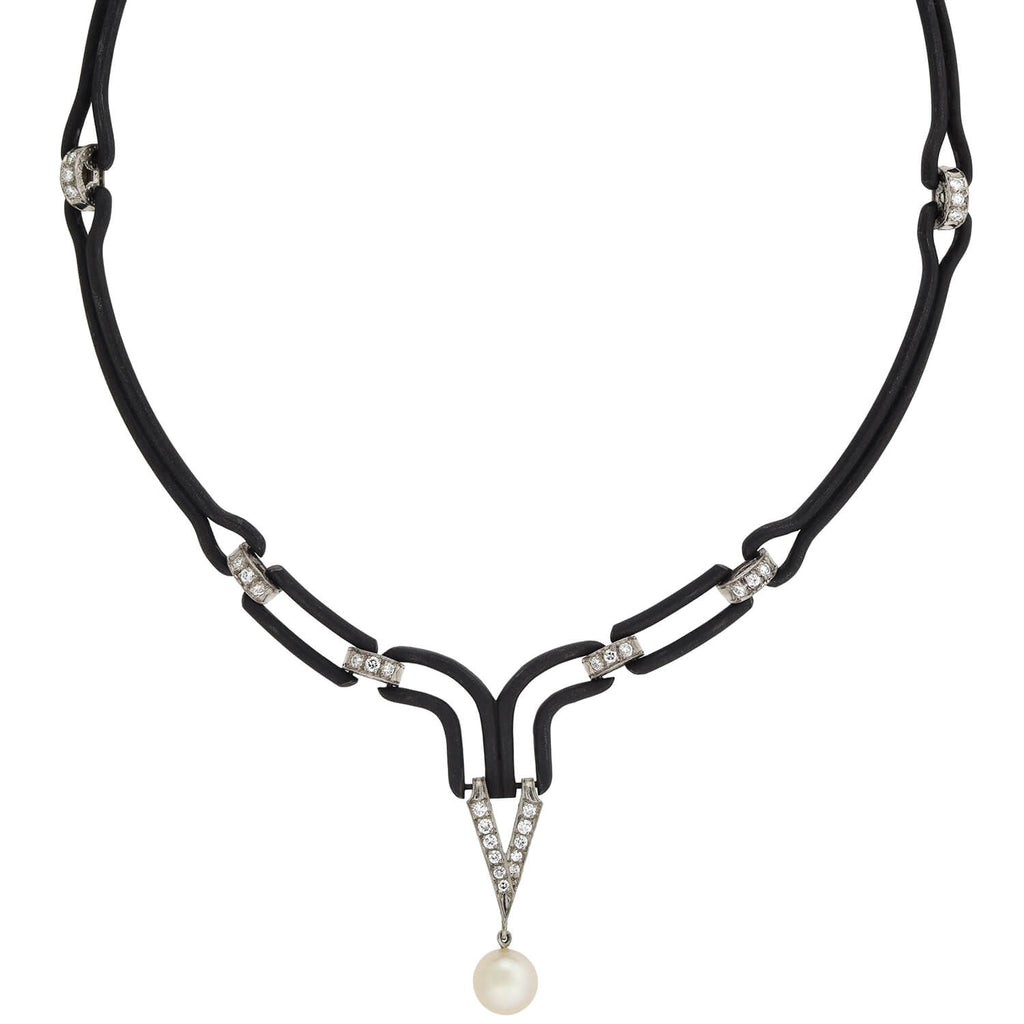 MARSH & CO. Blackened Steel/Platinum Pearl + Diamond Collar Necklace