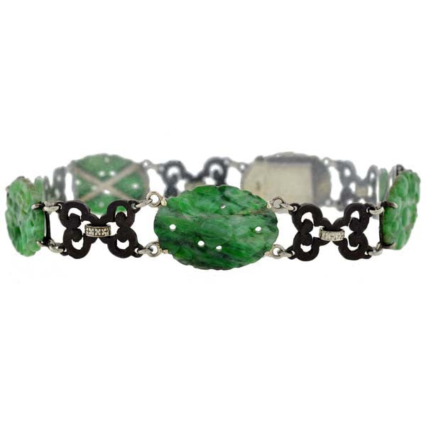 MARSH & Co Art Deco 18kt & Steel Carved Jadeite Bracelet