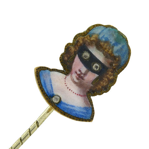 Victorian Gold Filled French Paste Masked Woman Enameled Stick Pin