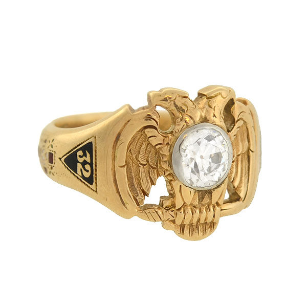 "Victorian 14kt Masonic Scottish Rite ""Double Eagle"" 32ndº Diamond Ring"