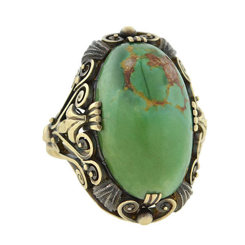 Art & Crafts Era 14kt Mixed Metals Cabochon Turquoise Ring
