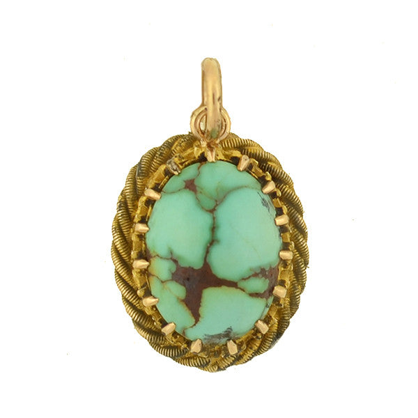 Late Victorian Petite 14kt Turquoise Pendant