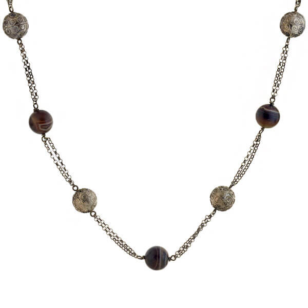 Late Victorian Sterling + Banded Agate Bead Necklace 34.5""