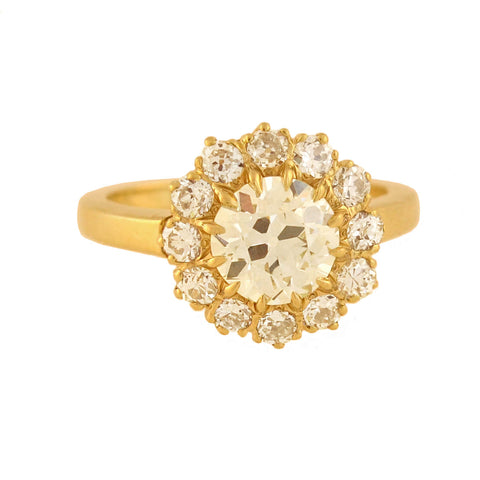 Victorian 18kt Gold Diamond Cluster Ring 2.10ctw
