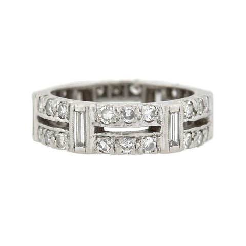 Art Deco Platinum Mixed Cut Diamond Eternity Band 1.56ctw