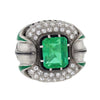 Art Deco Enameled Platinum Emerald & Diamond Ring 3ct