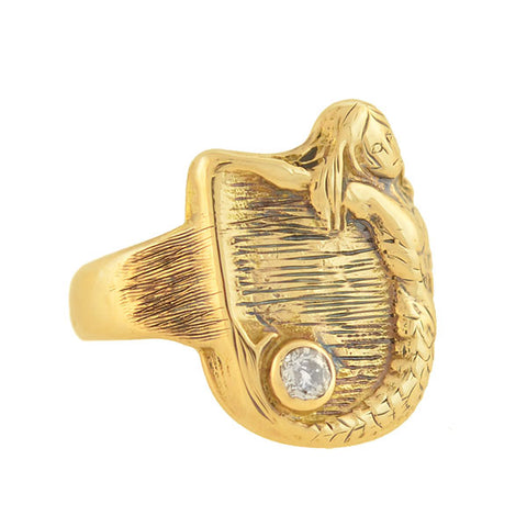Late Victorian 14kt Diamond + Mermaid Cigar Band Ring