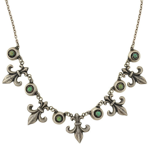 Vintage Mexican Sterling & Turquoise Fleur-de-Lys Necklace