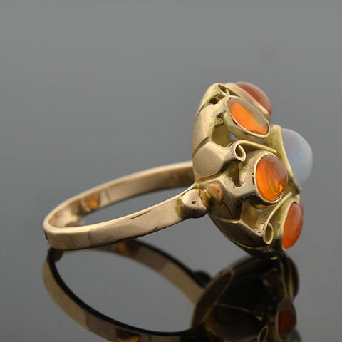 Vintage 14kt Mexican Jelly & Fire Opal Cluster Ring on hold