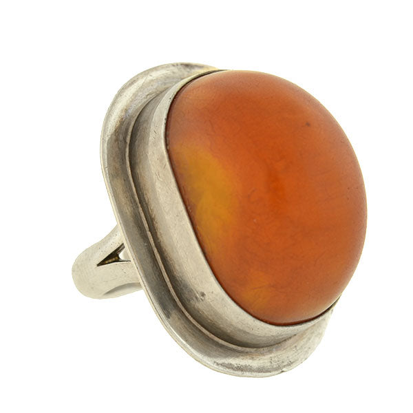 Vintage Mexican Large Sterling Silver & Amber Ring