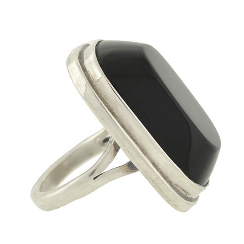 Vintage Mexican Huge Sterling & Onyx Ring